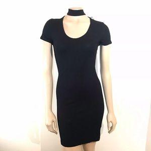 One Clothing Black High Neck Dress Short Sleeve